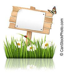 vector, naturaleza, papel, señal, Plano de fondo, pasto o...