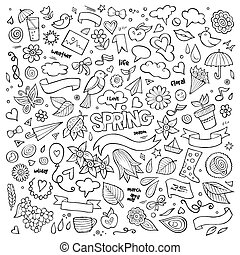 vector, naturaleza, primavera, mano, símbolos, objetos, ...