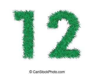 Vector nature garden green grass number letters.