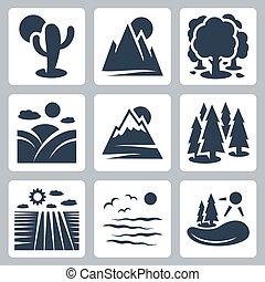 Vector nature icons set: desert, mountains, forest, meadow,...