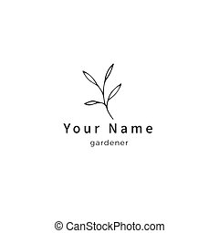 Vector nature related logo template, a green branch with leaves. Hand drawn isolated illustration.