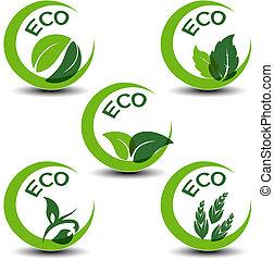 nature symbols with leaf - eco icons