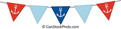 Vector Nautical Bunting with Anchor on White Background