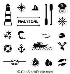 vector nautical icons,