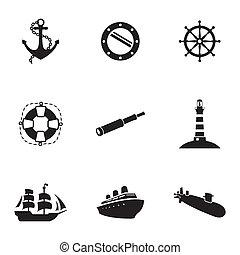 vector, nautisch, set, black , iconen