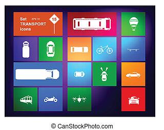 vector, navegante, conjunto, transporte, iconos