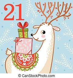 vector, navidad, advenimiento, calendar.