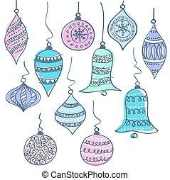 vector, navidad, ilustración, campanas