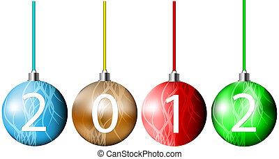 vector, navidad, pelotas, 2012