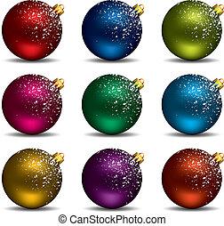 vector, navidad, pelotas