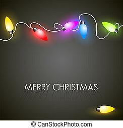 vector, navidad, plano de fondo, con, colorido, luces