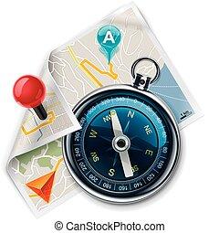 vector, navigatie, /, route, kaart, xxl