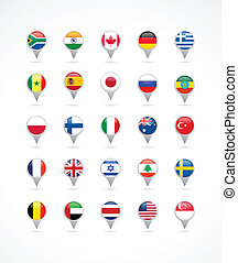 navigation pointer icons with world flags - vector...