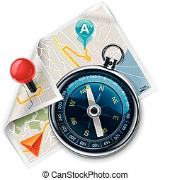 Extralarge icon - compass with map and navigation markers