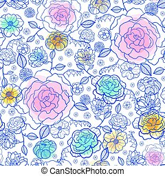 Vector navy and pastels spring flowers seamless repeat pattern bacgkround design. Great for springtime greeting cards, invitations, wedding, fabric, wallpaper, wrapping projects.