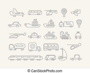 vector, neón, transporte, iconos