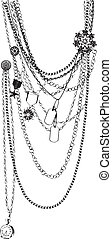 vector necklace trompe l'oeil - chain necklace vector...