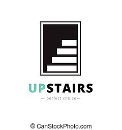 Vector minimalistic negative space stairs logo. Brand sign