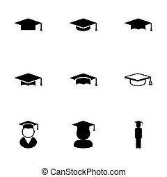 vector, negro, académico, gorra, icono, conjunto