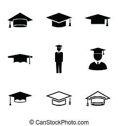 vector, negro, académico, gorra, iconos, conjunto