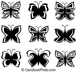 vector, negro, aislado, blanco, colección, mariposas, ilustración