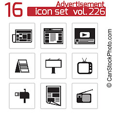 vector, negro, anuncio, iconos, conjunto