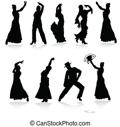 vector, negro, bailarines, flamenco