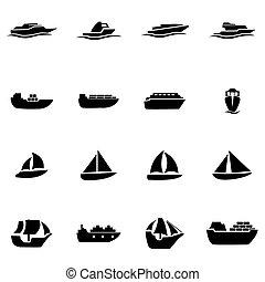 vector, negro, barco, y, barco, icono, conjunto