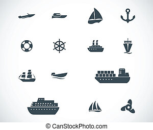 vector, negro, barco, y, barco, iconos, conjunto