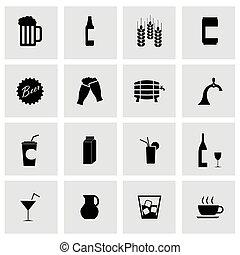 vector, negro, bebidas, iconos, conjunto