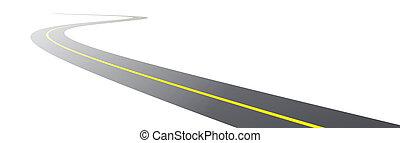 vector, negro, camino de asfalto