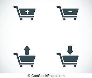vector, negro, carro de compras, iconos, conjunto