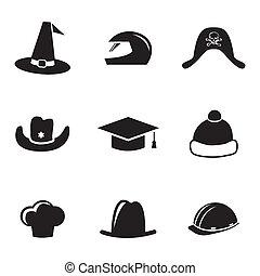 vector, negro, casco, y, sombrero, iconos, conjunto