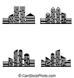 vector, negro, ciudad, iconos, conjunto