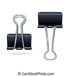 vector, negro, clip carpeta, conjunto