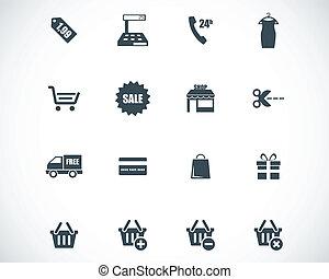 vector, negro, compras, iconos, conjunto