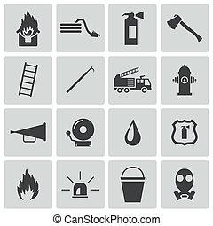 vector, negro, conjunto, bombero, iconos