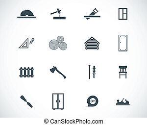 vector, negro, conjunto, carpintería, iconos