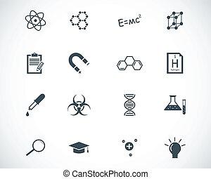vector, negro, conjunto, ciencia, iconos