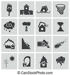 vector, negro, conjunto, desastre, iconos
