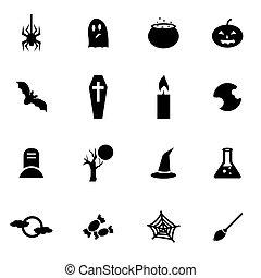 vector, negro, conjunto, halloween, icono