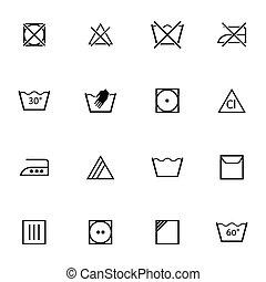 vector, negro, conjunto, lavado, iconos