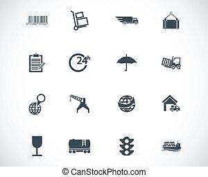 vector, negro, conjunto, logístico, iconos