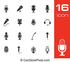 vector, negro, conjunto, micrófono, iconos
