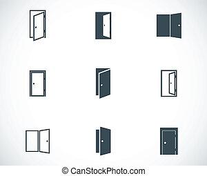 vector, negro, conjunto, puerta, iconos