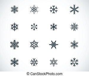 vector, negro, copo de nieve, iconos, conjunto