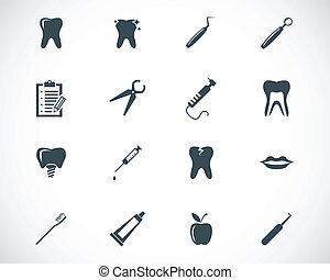 vector, negro, dental, iconos, conjunto