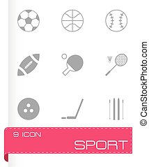 vector, negro, deporte, conjunto, iconos