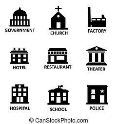 vector, negro, edificio del gobierno, iconos, conjunto