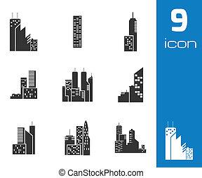 vector, negro, edificio, iconos, conjunto